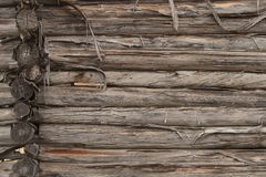 Log wall background stock photo
