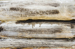 Log wall close-up. Old log house with smudges close-up Stock Photo