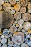 Log wood wall background. Royalty Free Stock Photo
