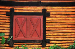Log wood and window Stock Image