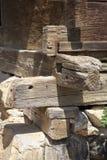 Log wooden house corner detail Stock Image