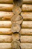 Log wooden house made of tree trunk wall closeup royalty free stock images