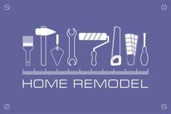 Loga dom przemodelowywa, ikona narzędzia dla naprawy ilustracji
