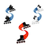 Loga rolkowy łyżwiarstwo również zwrócić corel ilustracji wektora Fotografia Stock