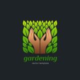 Loga szablon dla uprawiać ogródek i żywności organicznej, jarosz, zdrowy styl życia Obraz Royalty Free