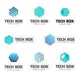 Loga szablonu sześciokąta projekt Techniki pudełko Obraz Stock
