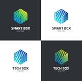Loga szablonu sześciokąta projekt Techniki pudełko, mądrze pudełko Obraz Royalty Free