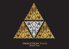 Loga trójboka kształta abstrakta linii tradyci wzoru tajlandzki backgro ilustracja wektor