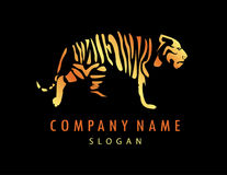 Loga tygrysi czarny tło Obrazy Stock