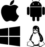 Loga Windows Linux android Apple zdjęcia royalty free