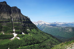Logan Pass Glacier Park. A beautiful scenic view of the mountains at Logan Pass in Glacier National Park, Montana (USA Royalty Free Stock Images