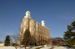 Logan Temple of the LDS Church. The Logan Temple of the Church of Jesus Christ of Latter-day Saints is located in Logan, Utah. This temple was started in 1877 Stock Photo