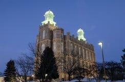 Logan Utah Temple van de Mormoonse Kerk stock foto