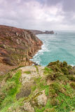 Logans rock near porthcurno in Cornwall england uk. Stock Image