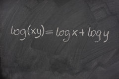 Logarithm formula on a school blackboard Royalty Free Stock Image