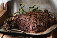 Logarithme naturel de yule fait maison de chocolat de Noël Photo libre de droits