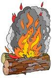 Logarithmes naturels et incendie en bois Photos stock