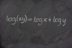 Logarithmusformel auf einer Schuletafel Lizenzfreies Stockbild