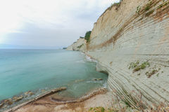 Logas beach. At Peroulades village at Corfu island, Greece Royalty Free Stock Image