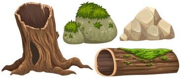 Logboek en rotsen met mos op bovenkant royalty-vrije illustratie