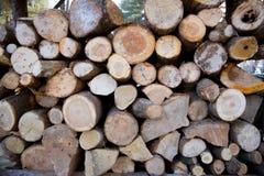 Logboeken die aan brandhout in wintertijden worden gehakt Royalty-vrije Stock Fotografie