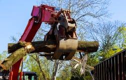 Logboeken die van tractor van de Boom de hydraulische manipulator worden geladen stock afbeelding