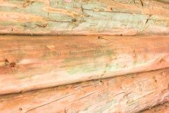 Logboeken van de muur steken de houten pijnboom beige groot horizontaal het close-up geribbeld canvas aan van de bouwmateriaal ru stock afbeelding