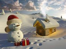 Logboekhuis in de sneeuw bij Kerstmis stock foto