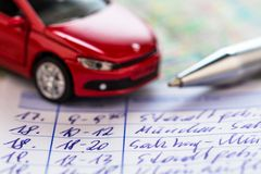Logbook for car Stock Photo