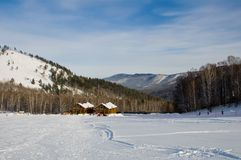 Loge de ski en montagnes Altay Photos libres de droits