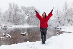 Éloge de yoga d'hiver Photo stock