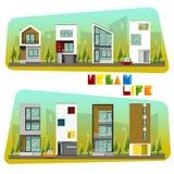 Loge la collection, la maison moderne et la communauté illustration libre de droits