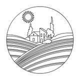 Loge med vingårdsymbolen i översiktsstil som isoleras på vit bakgrund Symbol för vinproduktion stock illustrationer