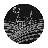 Loge med vingårdsymbolen i svart stil som isoleras på vit bakgrund Symbol för vinproduktion vektor illustrationer