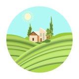 Loge med vingårdsymbolen i tecknad filmstil som isoleras på vit bakgrund Vektor för materiel för symbol för vinproduktion stock illustrationer