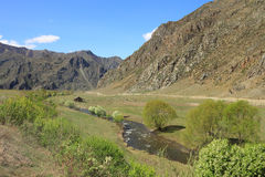 Loge près de la rivière Photo libre de droits