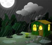 Loge verte fantastique la nuit illustration stock