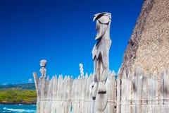 Logements hawaïens de toit couvert de chaume Photos stock