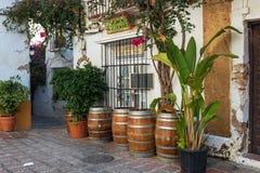 Logez l'extérieur décoré des pots de fleur faits de vieux barils en bois Photographie stock libre de droits