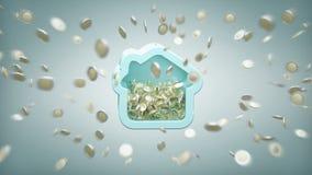 Logez la tirelire avec la pièce de monnaie entourant partout sur un fond 3d Images libres de droits