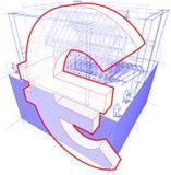 Logez le cadre avec les dimensions et l'euro diagramme de signe Illustration de Vecteur