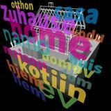 """Logez le cadre + l'""""home"""" dans le diagramme de beaucoup de langues Photo libre de droits"""