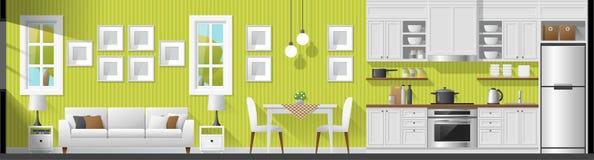 Logez le fond intérieur de panorama de section comprenant le salon, la salle à manger et la cuisine illustration libre de droits