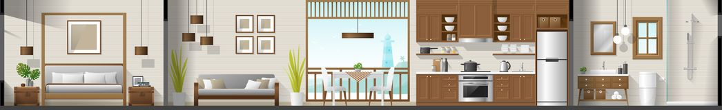 Logez le panorama intérieur de section comprenant la chambre à coucher, le salon, la salle à manger, la cuisine et la salle de ba Illustration Stock