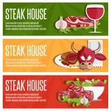 logez les bannières de vecteur avec le taureau, la viande, le vin et la salade Photographie stock