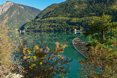 Logga bang- och höstlövverk på snickaren Lake i British Columbia Royaltyfri Foto