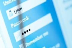 Logga in med användarnamn och lösenord på datorskärmen royaltyfria foton