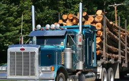 loggad lastbil för full påfyllning royaltyfri foto