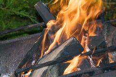 Loggar in branden på gallret Arkivbilder