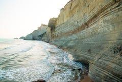 Loggas beach (Peroulades beach, Sunset beach) Corfu Island, Gree Royalty Free Stock Photography